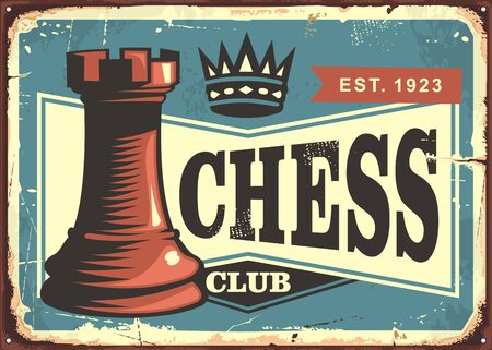 Chess club retro tin sign board design layout. Vintage poster template with chess figure on blue background. Vector illustration.
