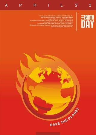 Earth on fire, global warming creative design concept. Heat vector illustration. Climate change and rise in the average world temperature. Vector illustration with flames and globe.