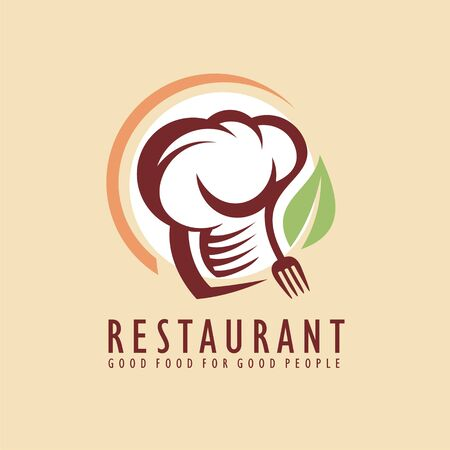 Restaurant logo design idea with chef hat, fork graphic and leaf shape.