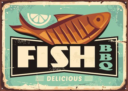 Grilled fish and lemon slice vintage vector sign for fish restaurant.