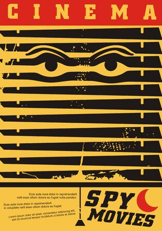 Spy movies cinema festival creative idea for poster design with eyes looking through the shutters