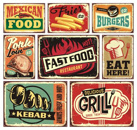 Collection of retro food restaurant signs and posters. Mexican food, burgers, French fries, kebab, fast food, grill, pork loins and eat here vintage vector billboards set. Ilustración de vector