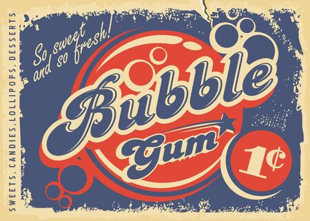 Bubble gums vintage paper poster design layout. Retro candy store advertisement for chewing gum. Vector promo leaflet.