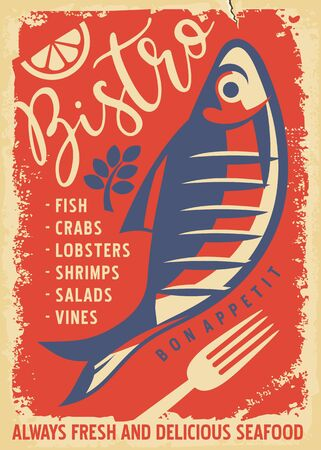 Vintage seafood menu for restaurant or bistro with fresh fish drawing. Retro fish illustration on old paper texture.