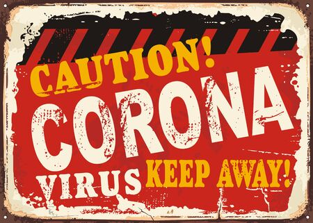 Coronavirus caution sign. Keep away pandemic warning poster design. Health protection announcement flyer. Vector illustration.