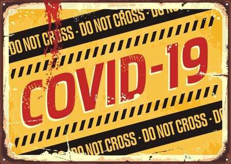 Coronavirus warning sign on damaged metal background. Danger sign for covid 19 viral infection. Do not pass quarantine area. Medical theme.