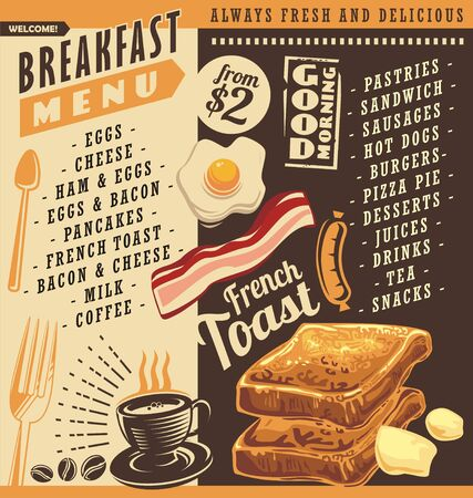 Breakfast menu, restaurant menu design with price lists and food graphics. French toast, egg and bacon vector images. Hot coffee cup drawing illustration. 向量圖像