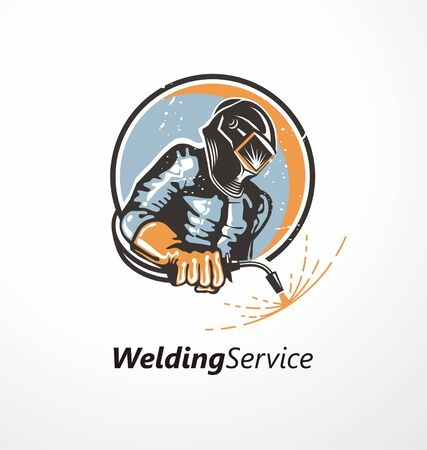 Industrial worker with welding mask holding welding machine. Logo design idea with welder and sparks. Metal industry symbol graphic. Logo