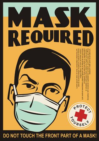 Mask required retro sign template. Man wearing medicine mask. Healthcare vector illustration.
