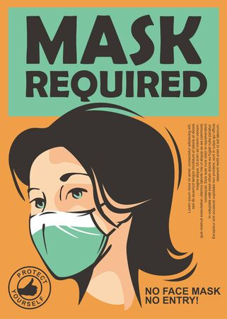 Mask required warning sign with young girl wearing face mask. Vector door sign illustration.