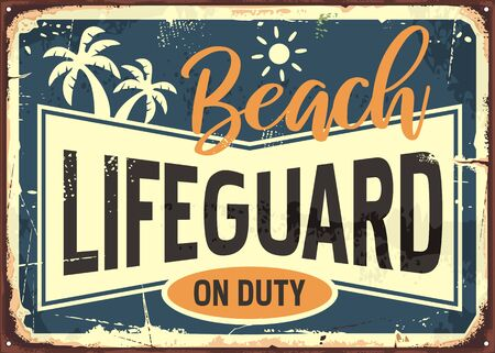 Beach lifeguard on duty retro summer sign info with sun and palm trees