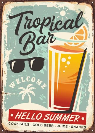 Glass of orange juice on old vintage sign. Tropical bar retro advertisement on rusty metal background.