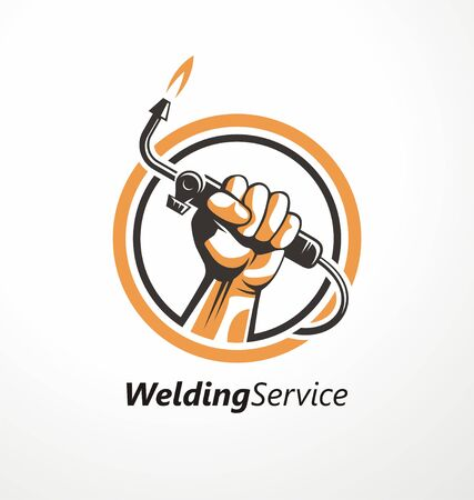 Logo for welding industry with fist holding welding machine.
