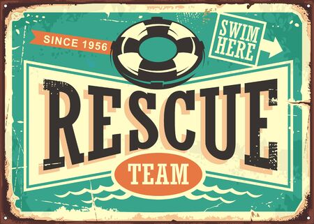 Beach rescue team vintage tin sign layout. Retro vector poster for life guard service.