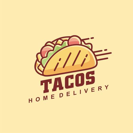 Tacos line art graphic vector illustration. Mexican fast food restaurant logo design layout. Food symbol.