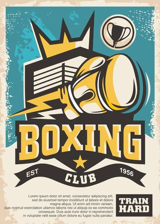 Boxing club emblem and poster design template. Vintage sports vector flyer. Boxing glove and ring in a shield shape. Crown symbol.