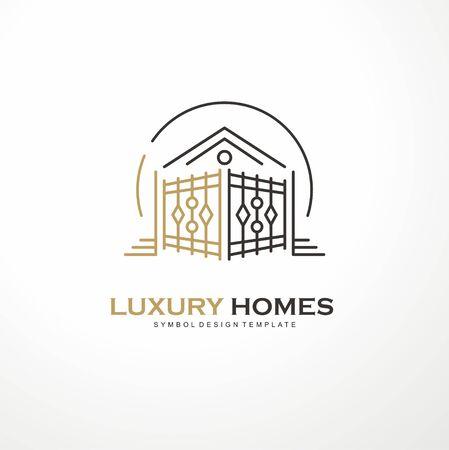 Luxury homes elegant line art logo design vector illustration with residence roof shape and antique artistic gate Stock Illustratie