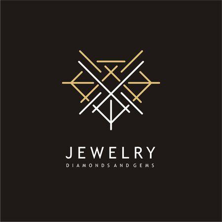 Jewelry elegant logo design with precious gem shape made from sharp lines