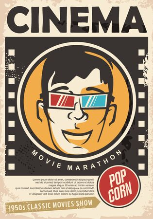 Cinema poster for 3D movie projections with happy guy and 3D glasses