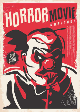 Horror design made for movie event. Cinema poster with red bloody clown with scary face. Vector illustration.