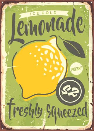 Fresh lemonade metal sign design with juicy lemon fruit and creative typography. Cold summer drink vector.