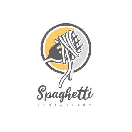 Italian spaghetti logo design idea with fork and pasta. Italian restaurant symbol food vector icon.