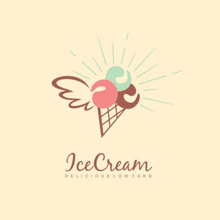 Diet ice cream logo design. Low carb ice cream vector icon. Summer dessert symbol.