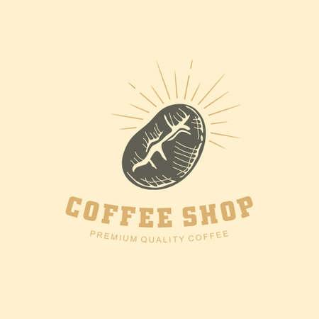 Coffee shop logo design with coffee bean drawing. Vector symbol.