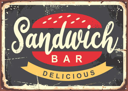 Delicious sandwich vector for fast food restaurants. Snack bar vintage metal sign.