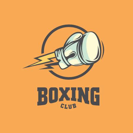 Boxing club logo design sport simbol. Vector icon martial art. Stock Illustratie