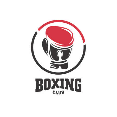 Boxing club vector symbol with boxing glove in the circle. Red and black sport icon. Stock Illustratie
