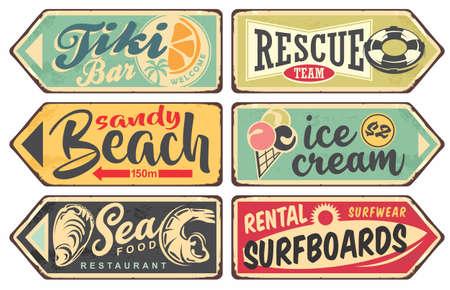 Summer signs vintage collection. Tiki bar, beach, sea food, ice cream, surfing signboards set. Vector illustration.