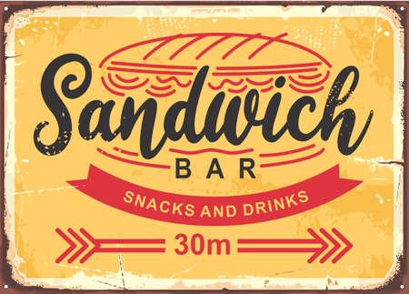 Sandwich bar poster design in retro style. Vector sign for fast food restaurant. Vintage food banner. Stock Illustratie