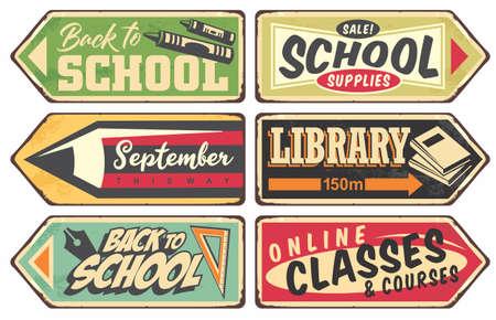 Vector school retro sign set. Vintage vector illustration with school supplies books and pencils. Stock Illustratie
