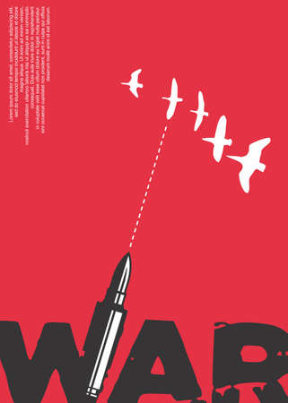 War poster design with red background, bullet and bird silhouettes. Conceptual art vector.