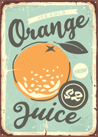 Orange poster design with juicy orange in the middle. Vector illustration