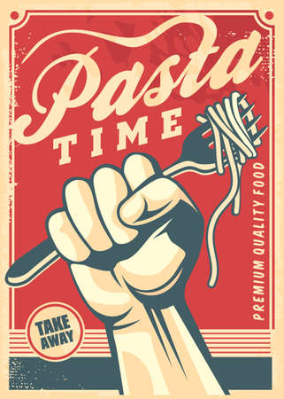 Pasta design poster in retro style. Vector vintage flyer for Italian food restaurant.