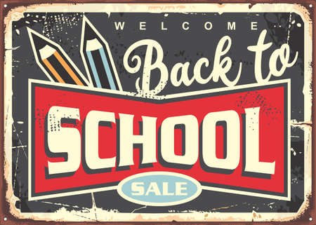 Back to school vintage sign design for school supplies sale. Retro vector poster with pencils and lettering. Stock Illustratie