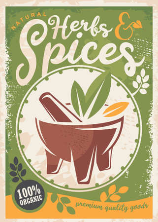 Herbs and spices poster design with green background. Retro vector sign with natural ingredients flyer concept with organic plants and leafs. Stock Illustratie
