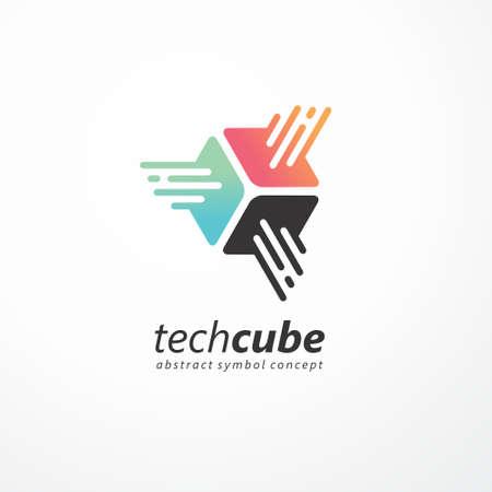 Tech cube logo design for internet technology business. Abstract symbol concept for hi-tech development company.