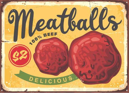 Meatballs poster design in retro style. Vintage vector sign for restaurants.