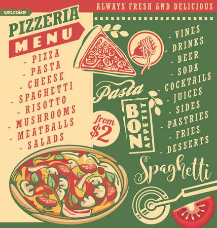 Pizza menu document template for Italian restaurant. Pizzeria menu layout with delicious pizza spaghetti and pasta.