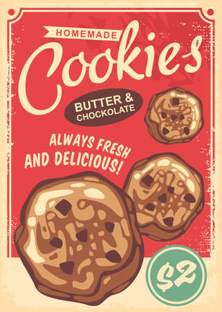 Cookies poster design made in retro style. Vintage vector with red background.