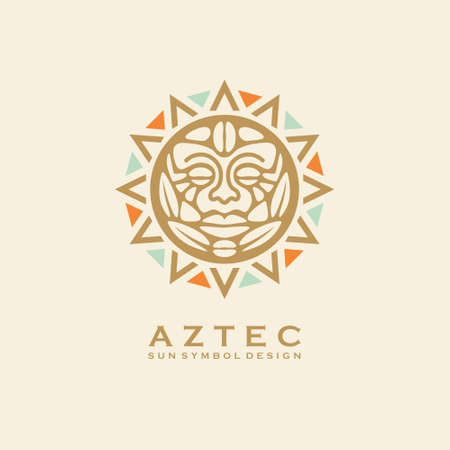 Aztec tribal sun symbol with human face. Vector logo or tattoo design with Mayan civilization sign. Vintage ornament. Stock Illustratie