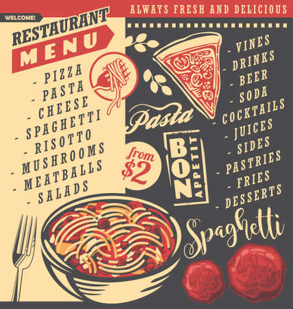 Diner menu with spaghetti dish, pizza pie, meatballs and fork. Restaurant menu blackboard design. Food and drink theme.
