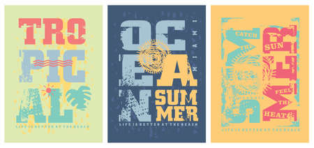 Summer graphics templates for tee shirts. T-shirts designs with travel and vacation theme like ocean, sea, sun, surf, beach. Prints layout for clothing collection.