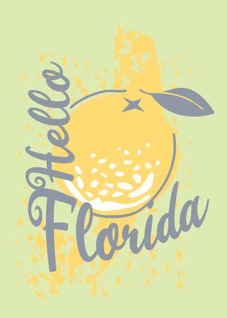 Florida T-shirt design with orange fruit on summer green background. Vector illustration. Stock Illustratie