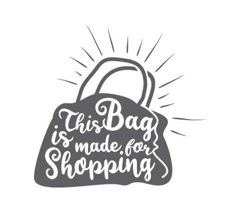 Shopping bag graphic vector design concept. Black sack drawing with free style lettering. Clothing and accessories retail print idea.