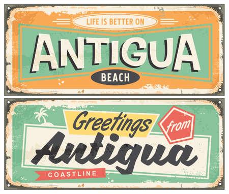 Antigua beach souvenir poster design in retro style. Caribbean island travel vacation greeting card template. Tropical destination  vector vintage illustration.