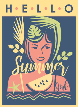 Summer girl sign with yellow and nautical blue background and floral elements.